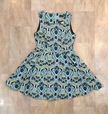 Primark Blue Green Patterned Cotton Sleeveless Dress Lined Summer Size 12 New