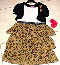 Forever Me Girls sundress spring black green Dress Size 6  NWT hearts ruffle