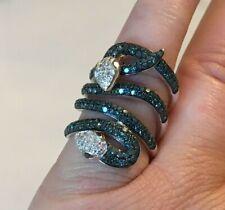 Affinity Diamond Sterling 1.50 cttw Layered Blue White Black Diamond Snake Ring