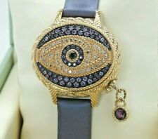 Judith Ripka Stainless Steel Diamonique Evil Eye Watch  Purple/Goldtone