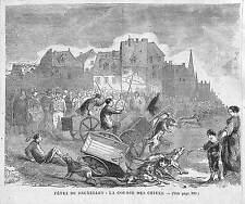 BRUXELLES COURSES DE CHIENS DOGS RACES GRAVURE ENGRAVING 1868