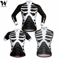 Mens Cycling Jersey Long Sleeve MTB Road Bike Outdoor Skeleton Shirt Jacket Tops