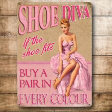 Shoe Diva Funny Pinup Girl Retro Fashion Shoes Small Metal Steel Wall Sign