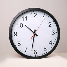 Black Wall Clock Round Easy Read Silent Non Ticking Quartz Home/Office/School
