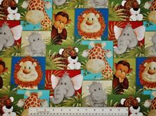 1/2 yard cotton quilt fabric Jungle Babies Patchwork Animals giraffe lion tiger
