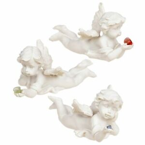 Angel Lying Holding Mineral Stone Figurine Small Cherub Figure Ornament Decor