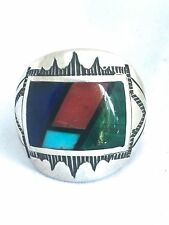 Vintage Sterling Silver Native American Zuni Ring Size 9.75 Sig RB Turquoise MEN