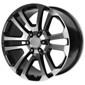 "OE Performance 158BM 22x9 6x5.5"" +24mm Black/Machined Wheel Rim 22"" Inch"