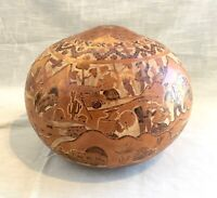 Vintage Heavily Hand Carved and Decorated Gourd Village Scene - Peru