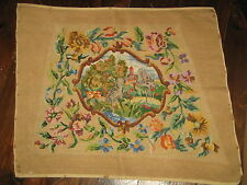 Vintage Liberty Embroidered Seat Back Cover Two Cranes on riverbed 56x48cm SALE!