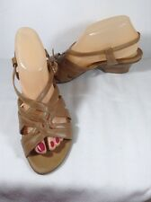 "Naturalizer ""Dame"" Saddle Tan Strappy Sandals Size 9 M"