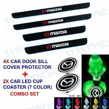 Blue Rubber Car Door Scuff Sill Cover Panel Step Protector+LED COASTER For Mazda