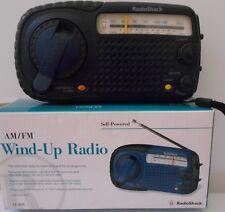"RadioShack AM/FM Wind-Up Radio with Emergency Alarm Vintage 12-801 BLUE 7"""