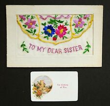 WW1 Silk Postcard Dear Sister I`m Thinking of You Maples Street Nottingham NG7