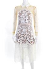 Self Portrait Womens Mesh Sleeve Collared Lace Overlay Midi Dress White Size 4
