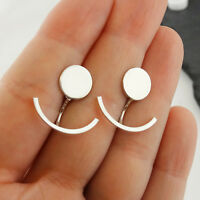Circle and Curved Bar Ear Jacket Earrings - 925 Sterling Silver Geometric Shapes