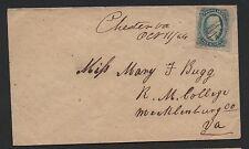 CSA Cover Scott #11 Mary Bugg Randolf Macon College Chester VA M/S Oct 11, 1864