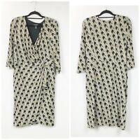 WHBM 14 Womens Beige Black Geometric Print Faux Wrap Long Sleeve Midi Dress