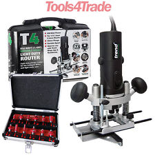 Trend T4EKL Router 1/4in 850w Variable Speed 110V + 12Pc 1/4in Router Cutter Set