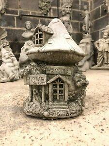 Garden Fairy house cottage ornament mushroom concrete stone statue sculpture Mag