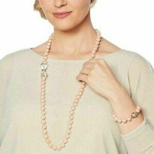 "Heidi Daus ""Full of Possibilities"" Convertible Necklace/Bracelet Set PINK MED/LG"