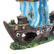 Aquarium Resin BLUE Wreck Sunk Ship Ornament Sailing Boat Fish Tank GIFT