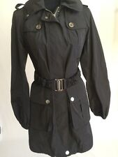 Burberry Brit Black Raincoat Jacket Parka Hooded Size 6