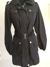 Burberry Brit Black Raincoat Jacket Parka Hooded Size 6