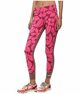 adidas by Stella McCartney Women's Floral Tights Hot Pink Grape Wine Size L