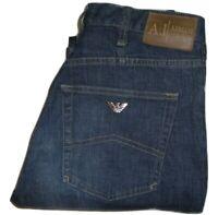 Mens AJ ARMANI J21 Dark Blue Stretch Denim Jeans W31 L35 Slim Straight Fit