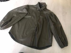 BNWT New Look Khaki Green Faux Leather Shirt - Balloon Sleeve - 14