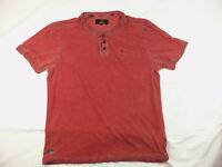Buffalo David Bitton Graphic Distressed V-Neck/Button-up T-Shirt Size L Large