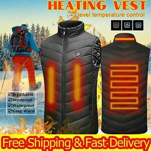 Mens Electric Vest Heated Jacket USB Thermal Body Warmer Windproof Gilet Coats