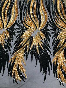gold/black phoenix wing Sequins 4 way stretch fashion-prom-apparel-nightgown yar