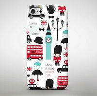 LONDON UK Bus City Big Ben King Queen Cartoon Taxi Pattern Phone Case Cover