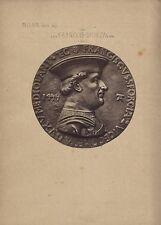Milan Italie François Sforza Photo d'une médaille Vintage albumine c 1870