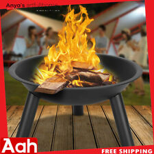 "22"" Iron Fire Pit Bowl Outdoor Backyard Patio Garden Burning Heater Black Usa"