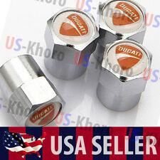 Ducati Motorcycle Logo Valves Stems Caps Covers Chromed Wheel Tire Emblem USA