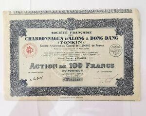 Action 100 Francs Charbonnages D'along Et Dong-dang. Ref60138