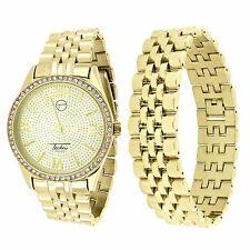 Gold Tone Mens Watch Bracelet Gift Set Techno Pave Lab Diamond Analog Quartz