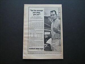 """1965 """"Parnelli Jones"""" AUTOLITE Spark Plug's vintage ad from private estate--nice"""