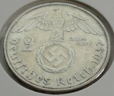 Germany 2 REICHSMARK SILVER MARK HINDENBURG SWASTIKA 1937 G Third Reich