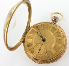 ".1800s ENGLISH ""J BOLTON, LIVERPOOL"" FUSEE POCKET WATCH +EXTRAVAGANT CASE & DIAL"