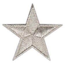 ao36 Stern Silber Klein Star Aufnäher Bügelbild Patch Applikation 4,5 x 4,5 cm