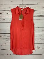 Kori America Boutique Women's L Large Coral Spring Tunic Top Blouse NEW TAGS