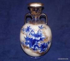 Antique Royal Doulton Burslem Ivory Blue & Gold Floral Two Handled Vase