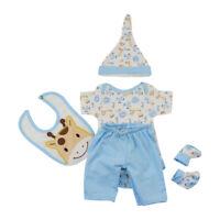Horse Romper Pants Hat Bib Socks for 17-18 inch Baby Newborn Dolls Clothing