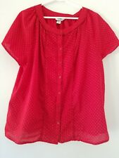 CJ Banks Red with White Polka Dots Peasant Top Size 1X
