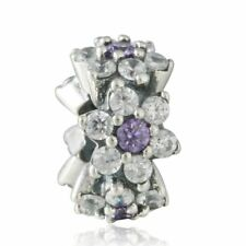 original Sterling Silber Perlen Purple Clear Cz Spacer Charm bead Fit Armband