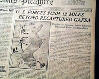 GEORGE S. PATTON Takes Command in North Africa & Map 1943 World War II Newspaper